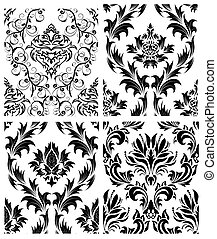 seamless damask patterns set - Damask seamless patterns set