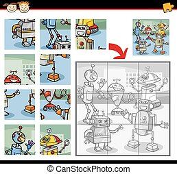 robots jigsaw puzzle game - Cartoon Illustration of...