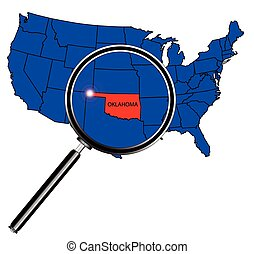 Oklahoma state outline set into a map of The United States...