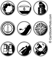 Nautical elements IV icons in knotted circle including...