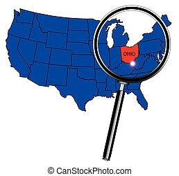 Ohio state outline insetinto a map of The United States of...