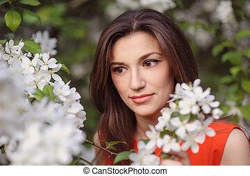 primavera, menina, beleza