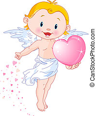 Cute Cupid - Vector illustration of Cute Cupid giving a...