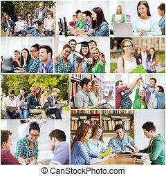 collage, con, Muchos, cuadros, de, colegio, estudiantes,