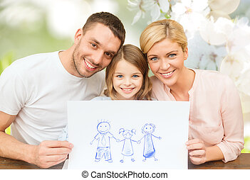 happy family with drawing or picture - people, happiness,...