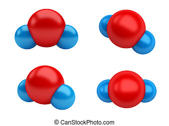 Water Molecules H2O - Chemical structure of a water...