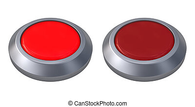 red button isolated - 3d illustration of red button closeup...