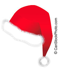 Santa hat - illustration of red Santa hat against the white...