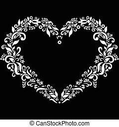 Embroidery inspired heart shape in white with floral...
