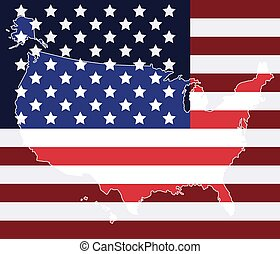 United states map on the flag