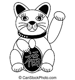 Chinese style cat with good luck