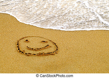 Happy Smiley on a Beach