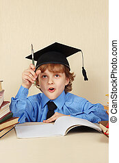 joven, divertido, profesor, en, académico, sombrero,...