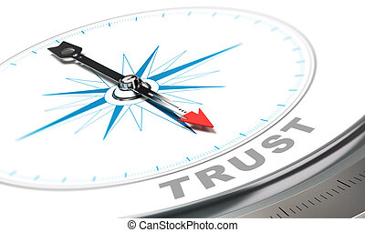 Business Trust Concept - Compass with needle pointing the...