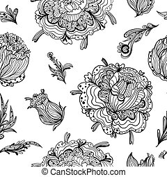 Black and White Gothic Floral Pattern - Romantic seamless...