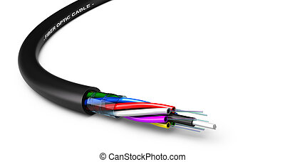 Fiber Optic Cable - Stripped fiber optic cable over white...