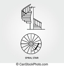 Top and side view of a Spiral stair - Top view and side view...