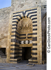 Ancient gate of the Old Citadel of Aleppo
