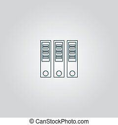 Binders Flat web icon or sign isolated on grey background...