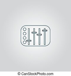 Sound Mixer Console Flat web icon or sign isolated on grey...