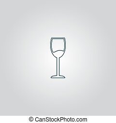 Wine glass vector icon Alcohol drink symbol - Simple Wine...