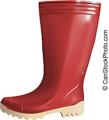 rubber boot on white background