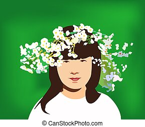 little girl with circlet of flowers - vector