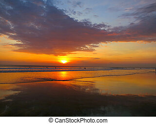 Kuta beach beautiful sunset, Bali, Indonesia - Kuta beach...