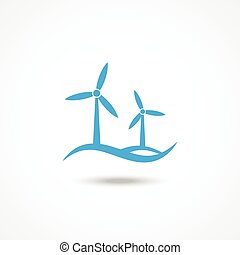 Wind turbine icon with shadow on white background