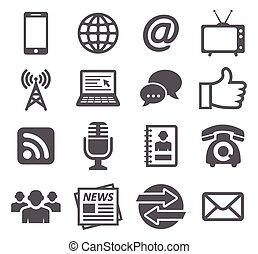 Communication icons - Gray Communication icons set on white...