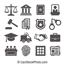 Law icons on white background