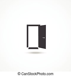 Door icon with shadow on white background