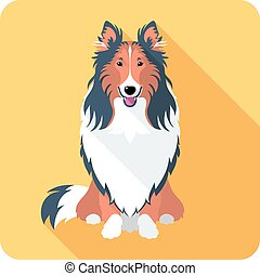 dog Rough collie icon flat design - Vector smiling dog Rough...