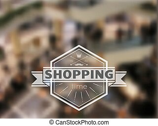 Shopping hipster blur background - Hipster label with...