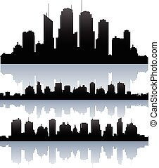 Vector cityscape skyline buidlings silhouette