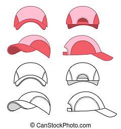 Baseball, tennis cap outlined