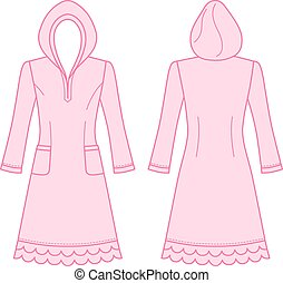 House dress, nightdress front back view, vector illustration...