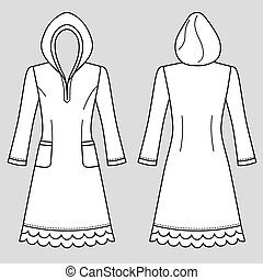 House dress, nightdress (front & back view), vector...