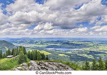 View to Allgaeu - View from the summit of the Alpspitz near...
