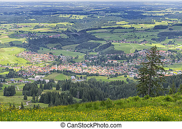 View to Nesselwang in the Allgaeu, Bavaria, Germany