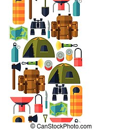 Tourist seamless pattern with camping equipment in flat...
