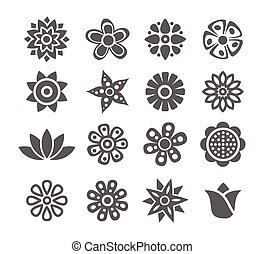 Flower icons - Gray Flower icon set on white background