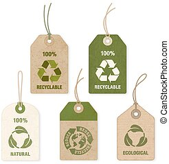 Vector Eco Price Tags - Five high detail grunge Vector Eco...