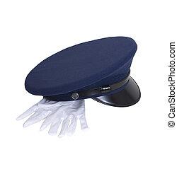 Uniform hat with gloves - Blue uniform hat with shiny brim...