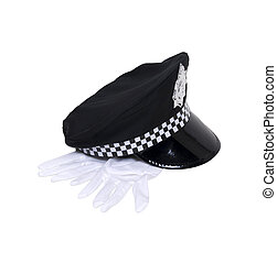 Uniform hat with gloves - Black uniform hat with badge and a...