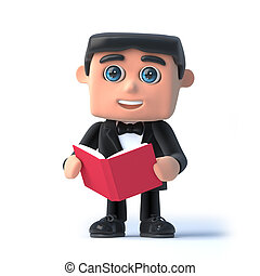 3d Bow tie spy reads a book - 3d render of a man wearing a...
