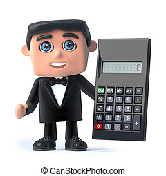 3d Bow tie spy uses a calculator - 3d render of a man...