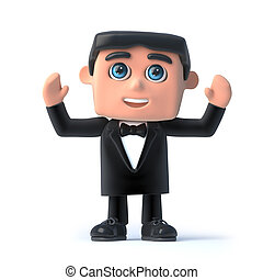 3d Bow tie spy raises his hands in the air - 3d render of a...