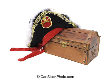 Pirate hat and treasure chest - Pirate hat with skull and...