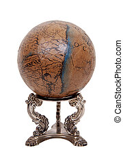 Old world globe with basic navigation notations on a silver...